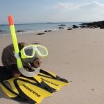 En tenue de snorkeling